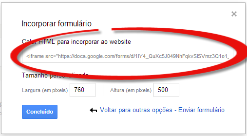 google drive incorporar ao website