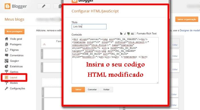 """Dicas Tech: Como inserir a caixa """"Link Me"""" no blog, parceria, blogger, link"""
